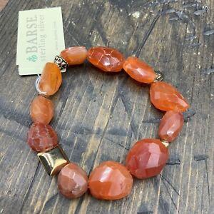 Barse Carnelian Ingot Stretch Bracelet- Bronze- NWT