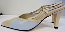 Peter Kaiser Size 5 Slingbacks: Beige and  Blue Capri Heels