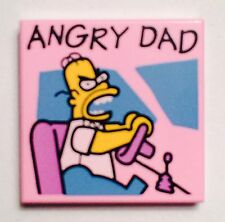 LEGO. The Simpsons. Angry Dad. 2x2 Tile. Pink.