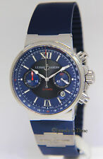 Ulysse Nardin Maxi Marine Chronograph Steel Blue/Black Mens 41mm Watch 353-66
