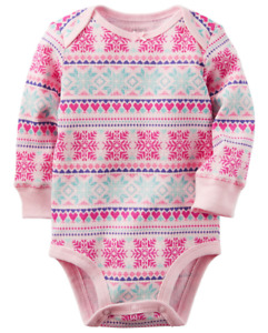 Carters Baby Girl 3 Months Thermal Pink Long Sleeve Bodysuit Fair Isle Clothes