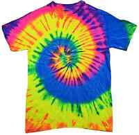 Tie Dye T-Shirts, Neon Rainbow, Youth XS - Youth L, Short Sleeve, 100% Cotton