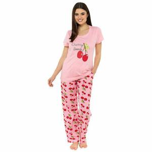 Ladies Cherry Bomb Pyjamas Nightwear Pyjamas Sizes 8-22 Free P&P
