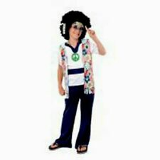 BOYS KIDS HIPPY HIPPIE 70'S 60'S FANCY DRESS COSTUME OUTFIT AGE 4-6 NEW