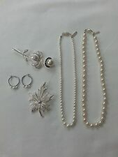 Napier - Lot of 6 - 2 Brooches 1 Bracelet 1 Earrings 2 Necklaces _ silver pearl