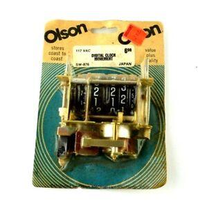 Olson NOS Sealed Vtg Clock Movement Japan Digital Digits Numbered Dial SW-876