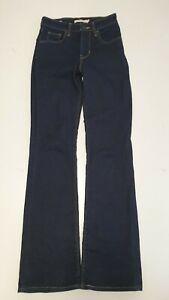 X218 WOMENS LEVI'S 725 DARK BLUE BOOTCUT STRETCHED DENIM JEANS UK 6 XS W25 L31