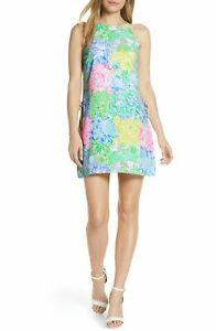 $295 Lilly Pulitzer Women's Yellow Blue Pearl Shift Halter-Neck Romper Dress 00