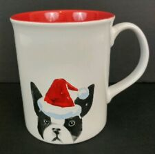 Fringe I Love My Boston Terrier Santa Hat Ceramic Coffee Mug Cup Dog Lovers