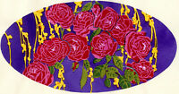 1930s French Pochoir Print Still Life Red Roses  And Leaves (L)