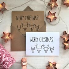 Personalised Family Christmas Cards, Reindeer, Vintage Rustic Country Chic Kraft