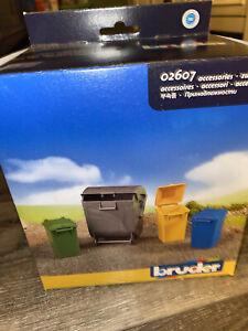 Bruder ~ Trash Cans Bins Set of 4,  #02607 Accessory Toy NIB ~ 1:16 Size
