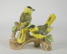 Vintage Porcelain Birds Figurine Yellow Hand Painted