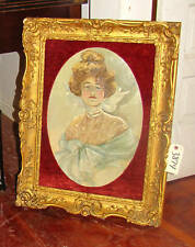 Art Nouveau Oil on Canvas Painting of Young Beauty Signed S.L Carter Inv. # 3874