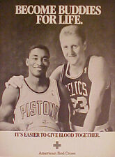 Bird~Thomas Celtics~Pistons Basketball Red Cross AD