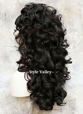 Brown Black 3/4 Fall  Hairpiece Long Curly Layered Half Wig Hair Piece #2