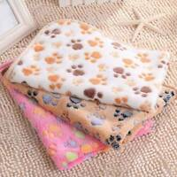 Pet Puppy Dog Cat Soft Blanket Paw Print Pig Fleece Small Large Warm Beds Mat