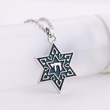 Enamel Jewish Star of David Chai for Life Necklace Pendant Necklace Talisman