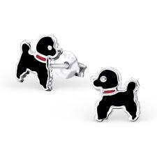 Girls Ladies 925 Sterling Silver Black Poodle Dog Puppy Stud Earrings Boxed (K5)