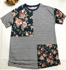 ASOS Womens Mixed Print Floral Stripes Short Sleeve Shirt Size Small US 4