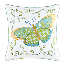 BLUE BUTTERFLY PILLOW : GARDEN SHABBY CHIC APPLIQUED ALESE COTTAGE TOSS THROW