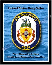 USS Monterey CG 61 Personalized Ship Crest Print on Canvas 2D Effect