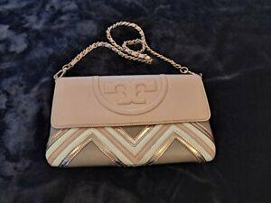 Tory Burch Alexa Chevron Clutch Leather Handbag Pink/Multi