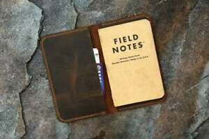 Full grain distressed leather slim cover for pocket size field notes notebook