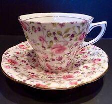 VTG Rosina Pink Rose Chintz Pattern Scalloped Gold Trim Cup+Saucer England #5040