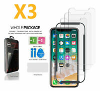 3X HD 9H Tempered Glass Screen Protector for Apple iPhone XS X with Cleaning Pad