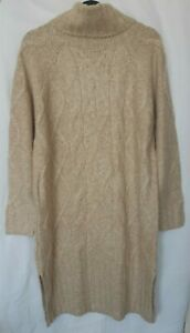 New TU Women's Beige and Grey Cable Front  Roll Neck Jumper Dress Size 8-20