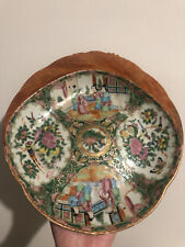 New listing Antique Chinese Export Porcelain Famille Rose Plate Vintage Asian China Repaired