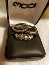 Harley Davidson Womens Jewelry Skull Stack Ring Black Crystals Sterling...