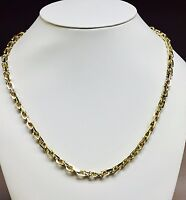 """14kt Solid Yellow Gold Handmade Link Men's Chain/Necklace 22"""" 70 grams 5.5MM"""