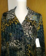 Kim Rogers Petite Multi-Color Animal Print Jacket Blazer Large - NEW