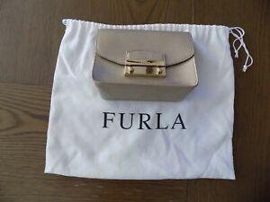 FURLA Metropolis Womans Leather Crossbody Small Bag Gold Purse Mini