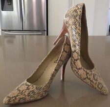 Pre-owned MIDAS Beige & Black Leather Python Stiletto Pumps Shoes Size 37.5