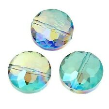 10 Green Blue Aurora Borealis Celestial Crystal 12x8mm Faceted Round Focal Beads