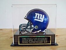 Football Mini Helmet Case With An Oakland Raiders Super Bowl 15 Nameplate