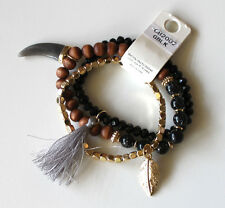 w Horn, Tassel, and Feather Charms Multi Pieces Bracelet Brown Black Gold Beads