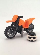 NEW Genuine LEGO ~ Orange Motorcycle Lot w/ Helmet ~ Dirt Bike World Racers