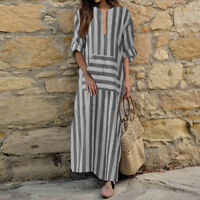 ZANZEA Women Oversized Striped V Neck Baggy Kaftan Long Sleeve Shirt Maxi Dress