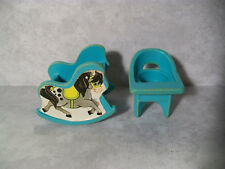 Vintage Fisher-Price Little People, Baby Items, Rocking Horse, High Chair, Teal
