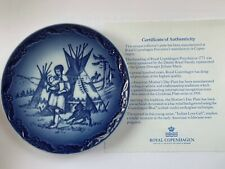 Royal Copenhagen Mother's Day Plate, 1989 Native Love Call, Blue & White, w/box