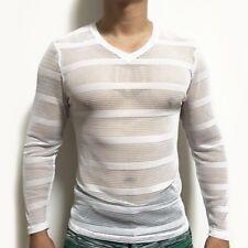 Men V Neck Striped Mesh Long Sleeve Slim T-Shirt See Through Breathable Sexy