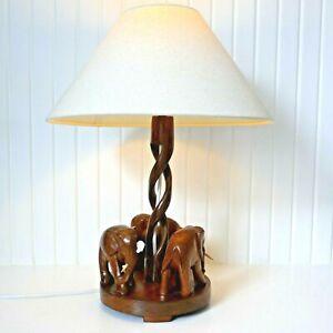 Vintage Mid Century Carved Teak Elephant Table Lamp & Shade