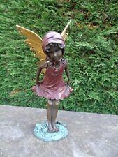 ELFE EN BRONZE , statue d une elfe en bronze , ange , papillon ...