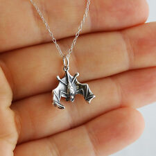 Hanging Bat Necklace - 925 Sterling Silver - Pendant Wings Cave Bats Charm NEW
