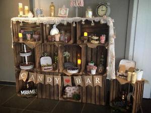 Candybar aus geflammten Kisten Hochzeit Obstkisten Paletten Weinkisten Holz DIY