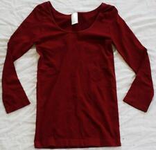 Nikibiki Women's Seamless Scoop Neck 3/4 Sleeve Top EW9 Burgundy One Size NWT